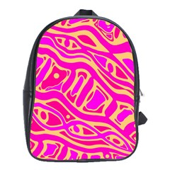 Pink abstract art School Bags(Large)