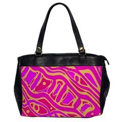 Pink abstract art Office Handbags