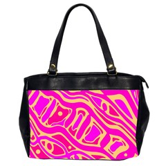 Pink abstract art Office Handbags (2 Sides)