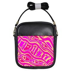 Pink abstract art Girls Sling Bags