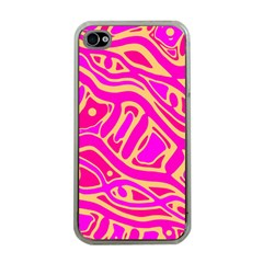 Pink abstract art Apple iPhone 4 Case (Clear)