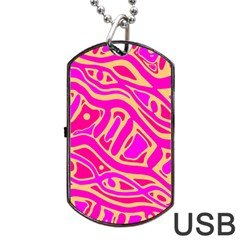 Pink abstract art Dog Tag USB Flash (One Side)
