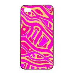 Pink abstract art Apple iPhone 4/4s Seamless Case (Black)