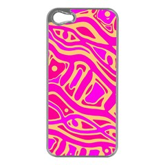 Pink abstract art Apple iPhone 5 Case (Silver)