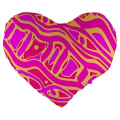 Pink abstract art Large 19  Premium Heart Shape Cushions
