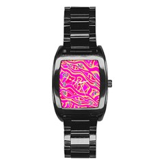 Pink abstract art Stainless Steel Barrel Watch