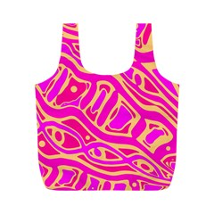 Pink abstract art Full Print Recycle Bags (M)