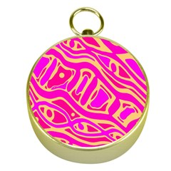 Pink abstract art Gold Compasses
