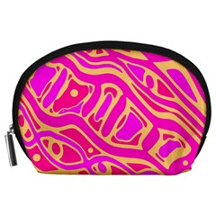 Pink abstract art Accessory Pouches (Large)