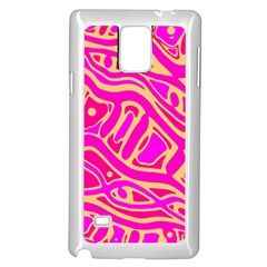 Pink abstract art Samsung Galaxy Note 4 Case (White)