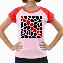Red, black and white abstraction Women s Cap Sleeve T-Shirt