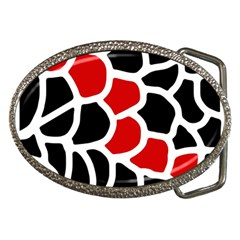 Red, black and white abstraction Belt Buckles