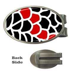 Red, black and white abstraction Money Clips (Oval)