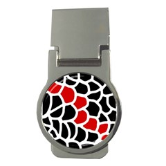 Red, black and white abstraction Money Clips (Round)