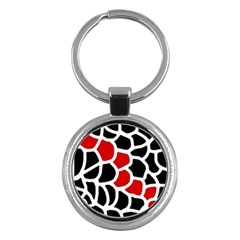 Red, black and white abstraction Key Chains (Round)