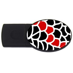 Red, black and white abstraction USB Flash Drive Oval (2 GB)