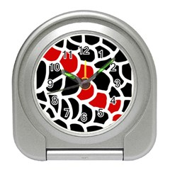 Red, black and white abstraction Travel Alarm Clocks