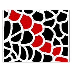 Red, black and white abstraction Rectangular Jigsaw Puzzl