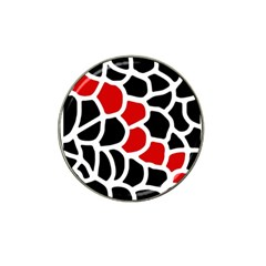 Red, black and white abstraction Hat Clip Ball Marker (10 pack)