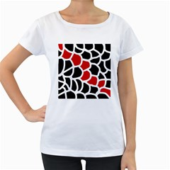 Red, black and white abstraction Women s Loose-Fit T-Shirt (White)
