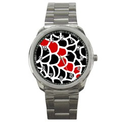 Red, black and white abstraction Sport Metal Watch