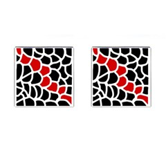 Red, black and white abstraction Cufflinks (Square)