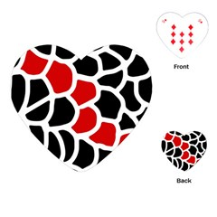 Red, black and white abstraction Playing Cards (Heart)