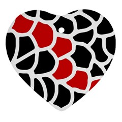 Red, black and white abstraction Heart Ornament (2 Sides)