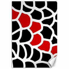 Red, black and white abstraction Canvas 12  x 18