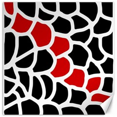 Red, black and white abstraction Canvas 20  x 20