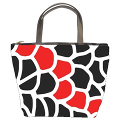 Red, black and white abstraction Bucket Bags
