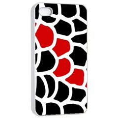 Red, black and white abstraction Apple iPhone 4/4s Seamless Case (White)