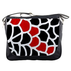 Red, black and white abstraction Messenger Bags