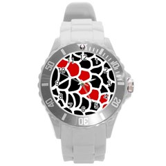 Red, black and white abstraction Round Plastic Sport Watch (L)