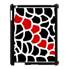 Red, black and white abstraction Apple iPad 3/4 Case (Black)