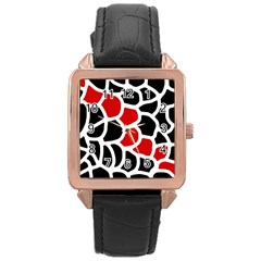 Red, black and white abstraction Rose Gold Leather Watch
