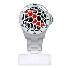 Red, black and white abstraction Plastic Nurses Watch