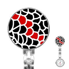 Red, black and white abstraction Stainless Steel Nurses Watch