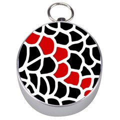 Red, black and white abstraction Silver Compasses