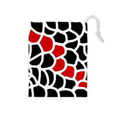 Red, black and white abstraction Drawstring Pouches (Medium)