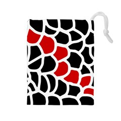 Red, black and white abstraction Drawstring Pouches (Large)