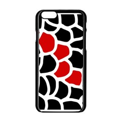 Red, black and white abstraction Apple iPhone 6/6S Black Enamel Case