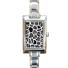 Black and white playful design Rectangle Italian Charm Watch
