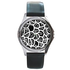 Black and white playful design Round Metal Watch
