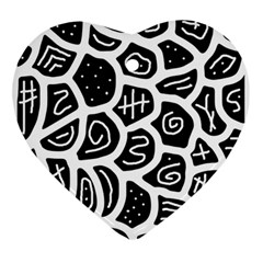 Black and white playful design Ornament (Heart)