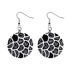 Black and white playful design Mini Button Earrings