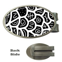Black and white playful design Money Clips (Oval)