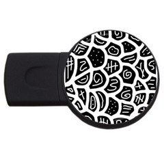 Black and white playful design USB Flash Drive Round (2 GB)