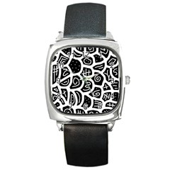 Black and white playful design Square Metal Watch