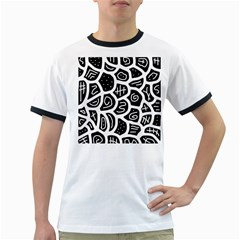 Black and white playful design Ringer T-Shirts